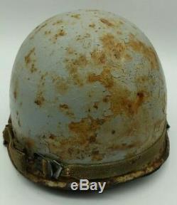 Post WW2 Vietnam US American Blue Navy M1 Combat Helmet + Liner MUST SEE