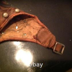 RARE-AMAZING AVIATION/SKULL CAP/HELMET LEATHER MUST SEE THIS Super cool