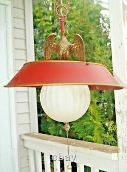 RARE Vintage 1940s 60s Era Metal Hanging Swag Lamp With Brass Eagle MUST SEE WOW