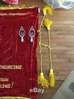 RARE Vintage'Lenin' Soviet Era Embroidered Velvet Propaganda Flag Must See