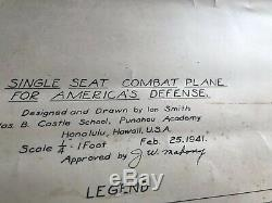 RARE WWll Fighter Aircraft Blueprint, Feb 1941. MUST SEE Ian Smith Drawings