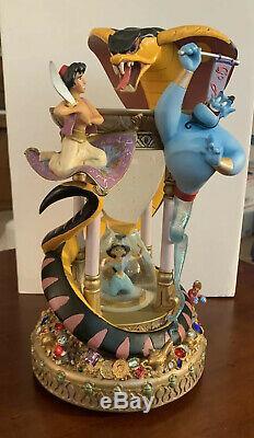 RARE! Walt Disney World Aladdin Hourglass Snowglobe with lights & music MUST SEE