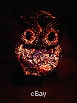 RETRO VINTAGE UNIQUE RARE OWL GLASS NIGHT LIGHT. WOW Beautiful! Must See