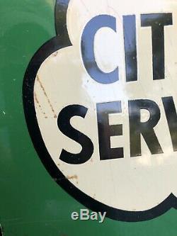 Rare Original Cities Service Gas Flange Sign Koolmotor Oil Must See Barn Fresh