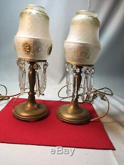 Rare Vintage Brass Crystal Lamp Pair Must See