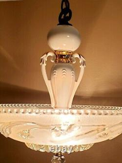 Restored Porcelier Chandelier MINT Must See Art Deco Ceiling Light Fixture