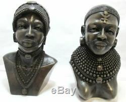 Samburu TRIBE African Woman and Man Sculpture Art Head Statue WOW! MUST SEE