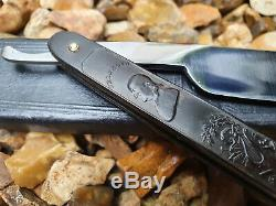 Sheffield Straight razor by G. Johnson Pressed Horn 6/8th 1830 a must see! Rare