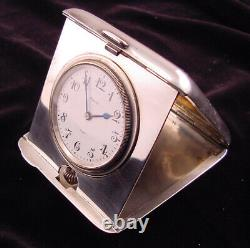 Sterling Silver Octava Folding Time Only 8-Day travel Clock Excellent Must See