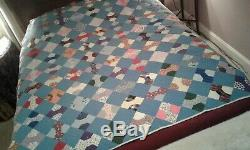 Stunning Very Vintage BOW TIE QUILT 77 x 62 Machine Quilted Must See