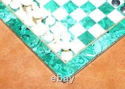Sublime Solid Malachite And Marble Medium Sized Chess Set Must See Pictures