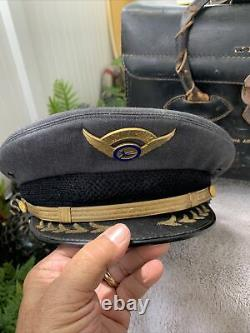 Super Rare Aloha Airlines Pilot Bag And Cap With Wings Must See