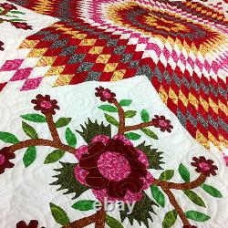 Traditional Lone Star with Floral Accents FINISHED QUILT Must See