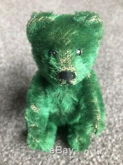 Ultra RARE Early Antique Brilliant GREEN Mohair Schuco Bear 4.75 Must See NR