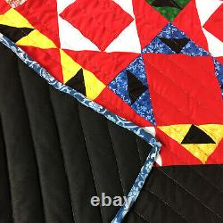 Unique Graphic Scrap Triangles FINISHED QUILT Must See, wonderful quilting