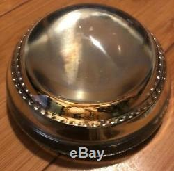 VINTAGE-DOMED GLASS-PAPERWEIGHT WITH BEADED EDGE-Flower Garden view -MUST SEE
