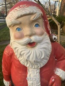Vintage 5ft Blow Mold Santa Claus Lifesize Christmas Decoration A MUST SEE