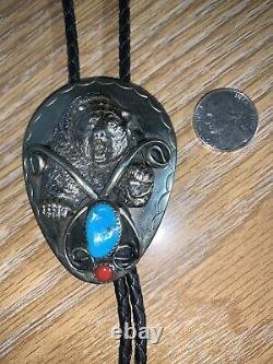 Vintage Bolo Bear Turquoise and Red Stone Must See Unique