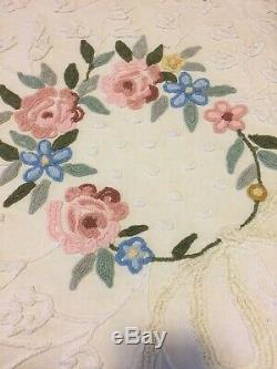 Vintage CABIN CRAFTS CHENILLE FLORAL BEDSPREAD Full Size Free Ship Must See