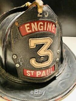 Vintage Cairns Leather Fire Fireman Helmet ENGINE 3 St PAUL NICE A MUST SEE