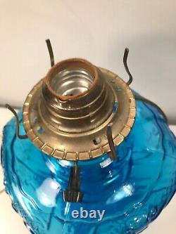 Vintage Electrified Glass Lamp'' Blue Color Must See