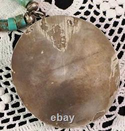 Vintage HUGE Navajo Turquoise Necklace Medallion Pendant Silver Setting MUST SEE