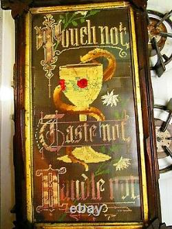Vintage punched paper needlework motto Rare snake with chalice must see