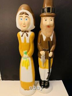 Vtg. Thanksgiving Blow Mold Pilgrims Union Products Don Featherstone A MUST SEE